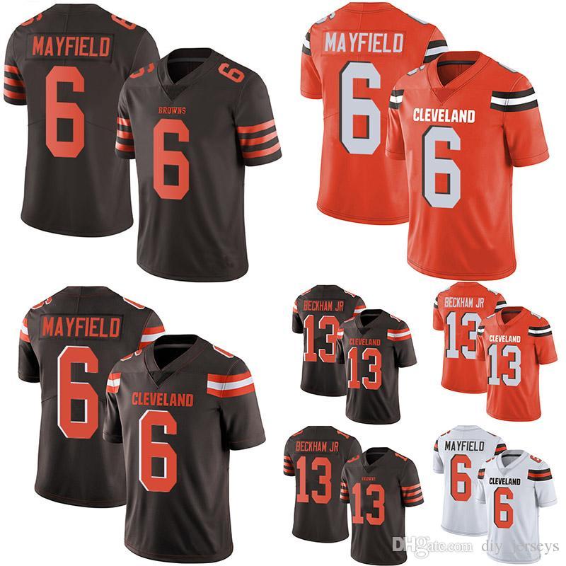 4b98d85a4d6 2019 Cleveland 6 Baker Mayfield Browns 13 Odell Beckham Jr Brown Orange White  Men's Stitched Limited Jersey