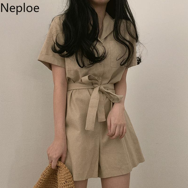 Neploe 2019 Summer Women Shorts Jumpsuit Korean Elegant Solid Single-breasted Playsuits Lady Casual Sashes Short Sleeve Overalls
