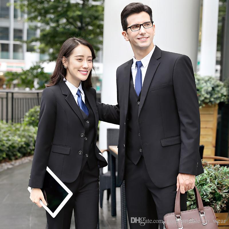 2019 professional men and women with the same business casual men s suit  suit overalls Slim autumn and winter thick men s suits