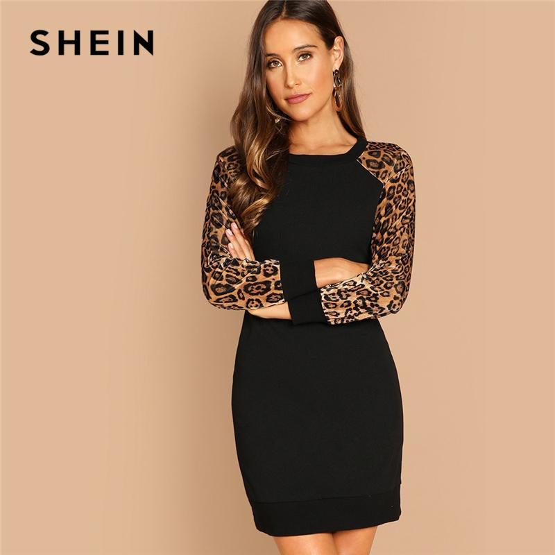 f5c015e043 SHEIN Black Elegant Workwear Leopard Print Color Block Raglan Sleeve Sequin  Dress Autumn Casual Women Long Sleeve Dresses Shopping Womens Dresses  Cocktail ...