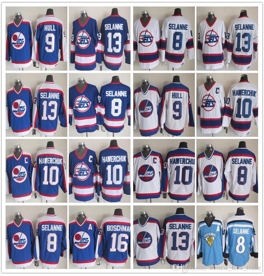 new styles faa46 418ec Vintage 13 Teemu Selanne Winnipeg Jets Hockey Jerseys 10 Dale Hawerchuk/9  Bobby Hull/16 Laurie Boschman/27 Numminen/8 Selanne CCM Jersey