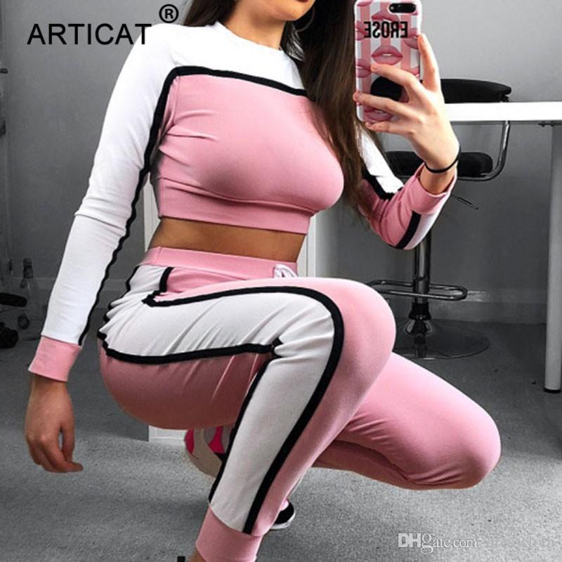 24635089bf79 YIBO 2018 Otoño Invierno 2 Unidades Conjunto Mujer Chándales Ropa deportiva  Casual Patchwork Crop Top A Rayas Sudadera Pantalones Sudorosos
