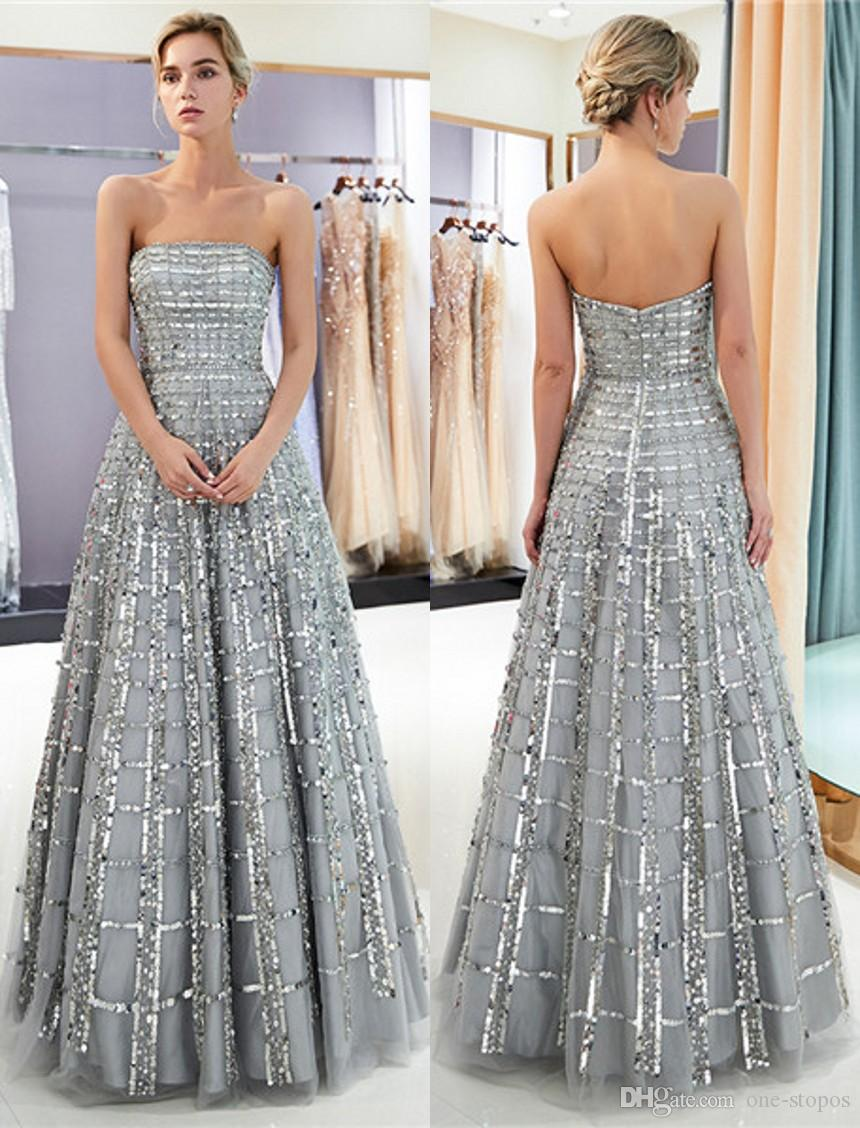 473e45fdb29 New 100% Real Image Silver Gray Prom Dresses Sequins Tulle Strapless Womens  Long Evening Gown Quinceanera Graduation Party Ball Gown CPS1162 Silver Prom  ...