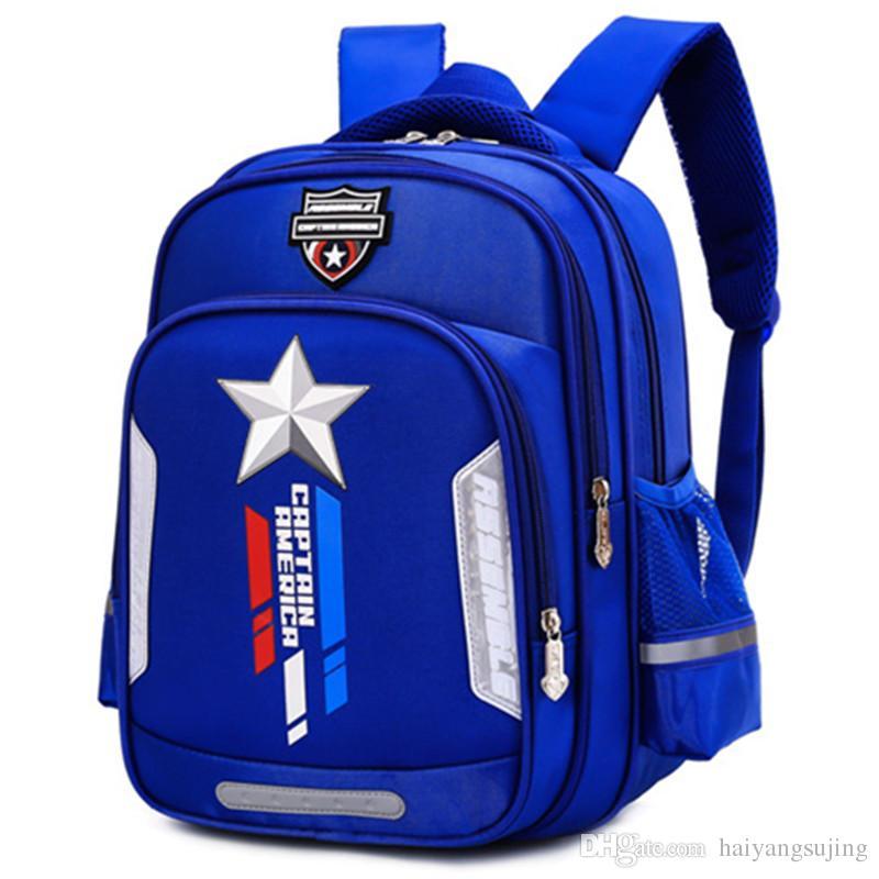 24190e7be4 Primary School Student Bags Captain America Boy Children Kindergarten Book  Bag Teenager Schoolbag Kids Spine Protection Backpack Handbag Satchel  Leather ...