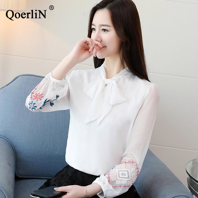 e3cd370a27 Compre QoerliN Blusa De Gasa Moda Camisa Formal Ropa De Mujer 2019 Nueva  Blusa Blanca De Manga Larga Elegante OL Oficina Mujer Ropa De Trabajo A   25.87 Del ...