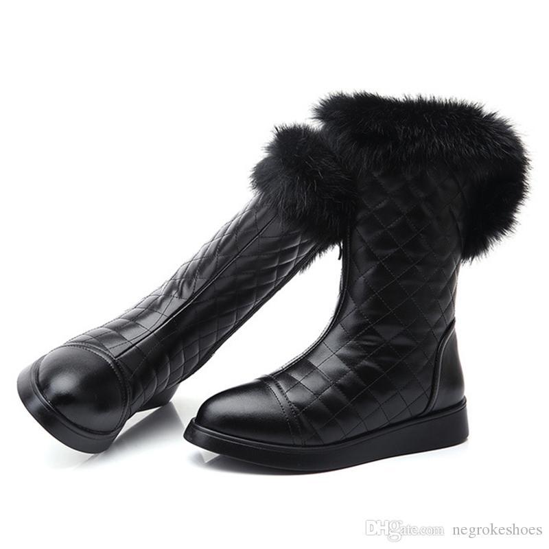 33e73dc7f Women s Shoes Luxury Fur Boots Female Zipper Winter Snow Boots ...