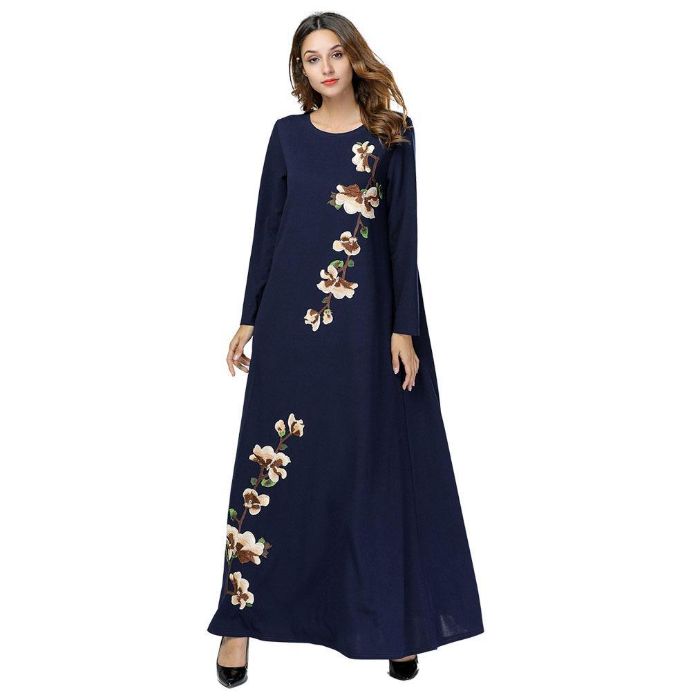 d76e6954b25ba Ramadan Cotton Embroidery Patchwork Maxi Dress Indian Abaya Long Sleeves  Dubai Abaya Ropa Arabe Mujer 7429