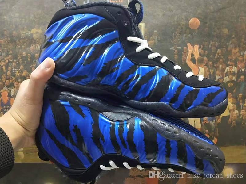 sale retailer f3c2b 1a3e6 2019 2019 New Penny Hardaway Memphis Tigers Blue Black Tiger Stripes Mens  Sports Sneakers Foam One QS Designer Men Basketball Sneakers Size 8 12 From  ...