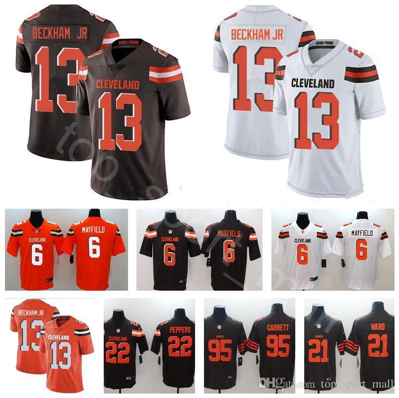 new styles e91e8 329e7 Cleveland Football Browns 13 Odell Beckham Jerseys Jr 6 Baker Mayfield 24  Nick Chubb Denzel Ward Jabrill Peppers Myles Garrett Orange White