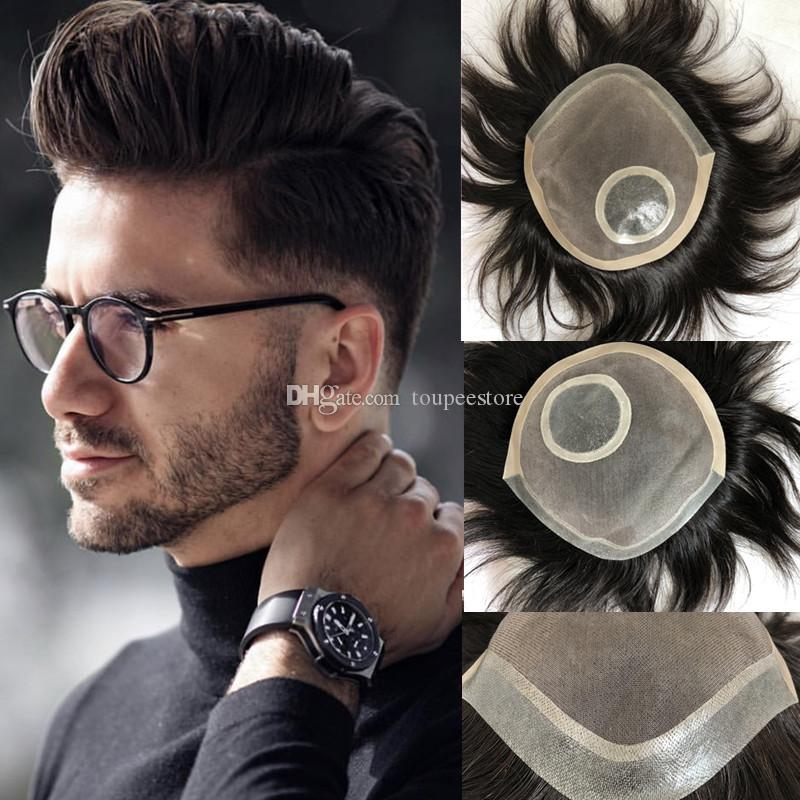 Mono Lace Toupee For Men Mono with Pu around Men Toupee Dark Brown Straight Human Hair Toupee Replacement Systems 100% Indian Remy Hair
