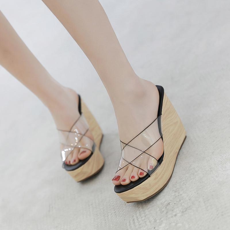 c85e2df5c0 2019 Summer Fashion Women High Heels Transparent Slides Wedges Slip On  Slippers Clog Beach Thick Designer Slides Wholesale Shoes