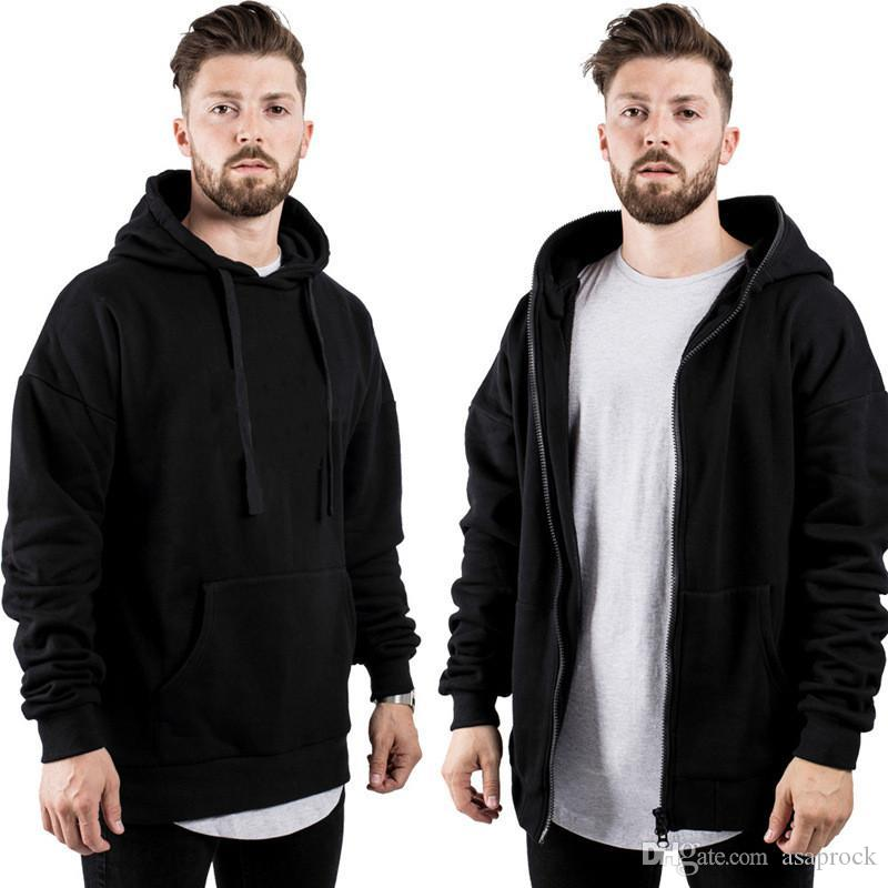 Mens der beiläufigen Hoodies Herbst-Winter-Positiv Negativ Wear Solid Color Outdoor Sports Fitness Sweatshirts