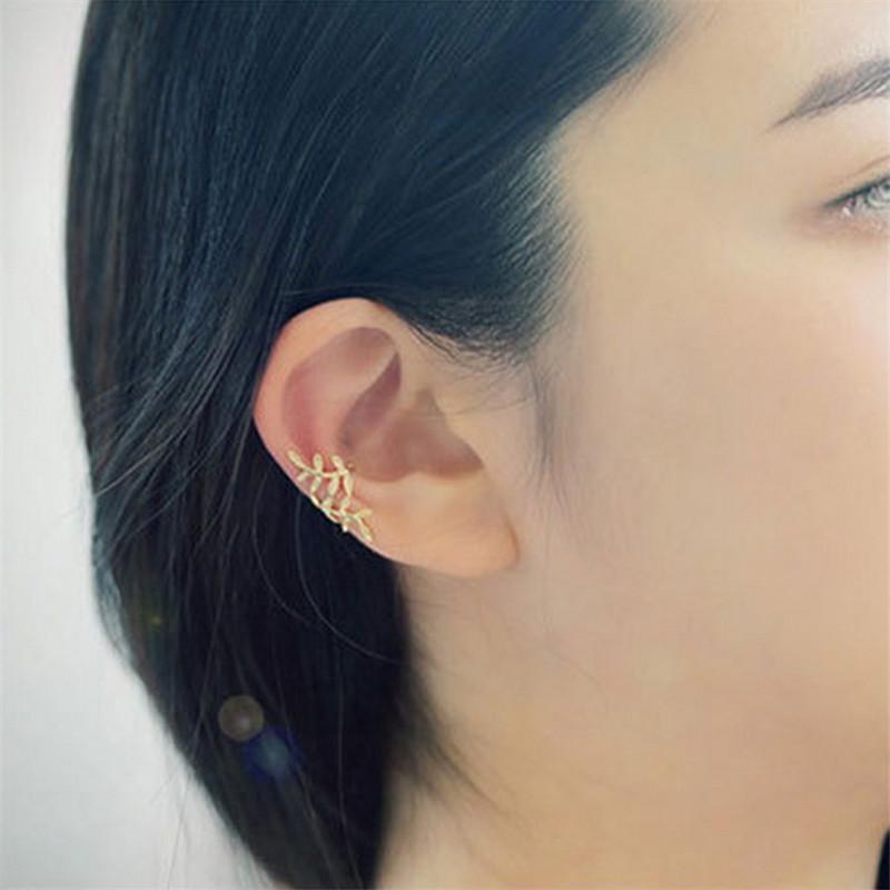 Ear Cuff Wrap Earrings Leaves Jewelry Piercing Clip Earrings Triangle Cartilage Clip Diy Settings gold Color