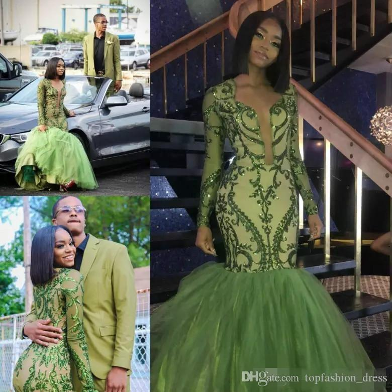 Modest Black Girls Green Mermaid Prom Dresses Maniche lunghe Paillettes Appliqued Tulle Immersione Illusion Abiti da sera convenzionali Abiti da festa