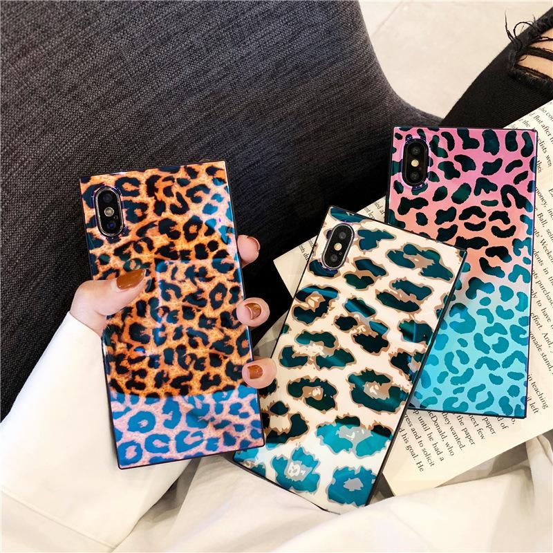 3D Luxury Leopard Blue Ray Square Case for IPhone X XS MAX XR 8 7 6 S 6S  Plus 8plus I Phone X Cell Phone Cases Designer Back Cover