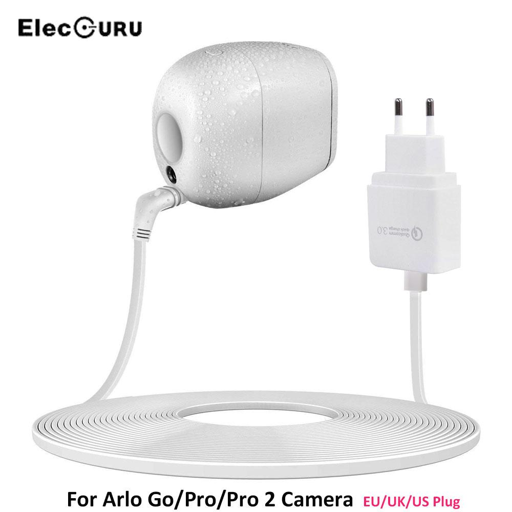 19 6ft/6M Charging Cable For Arlo Pro 2/Pro/Go Camera Battery Quick Charger  3 0 Power Adapter Charging Cable EU US UK Plug White