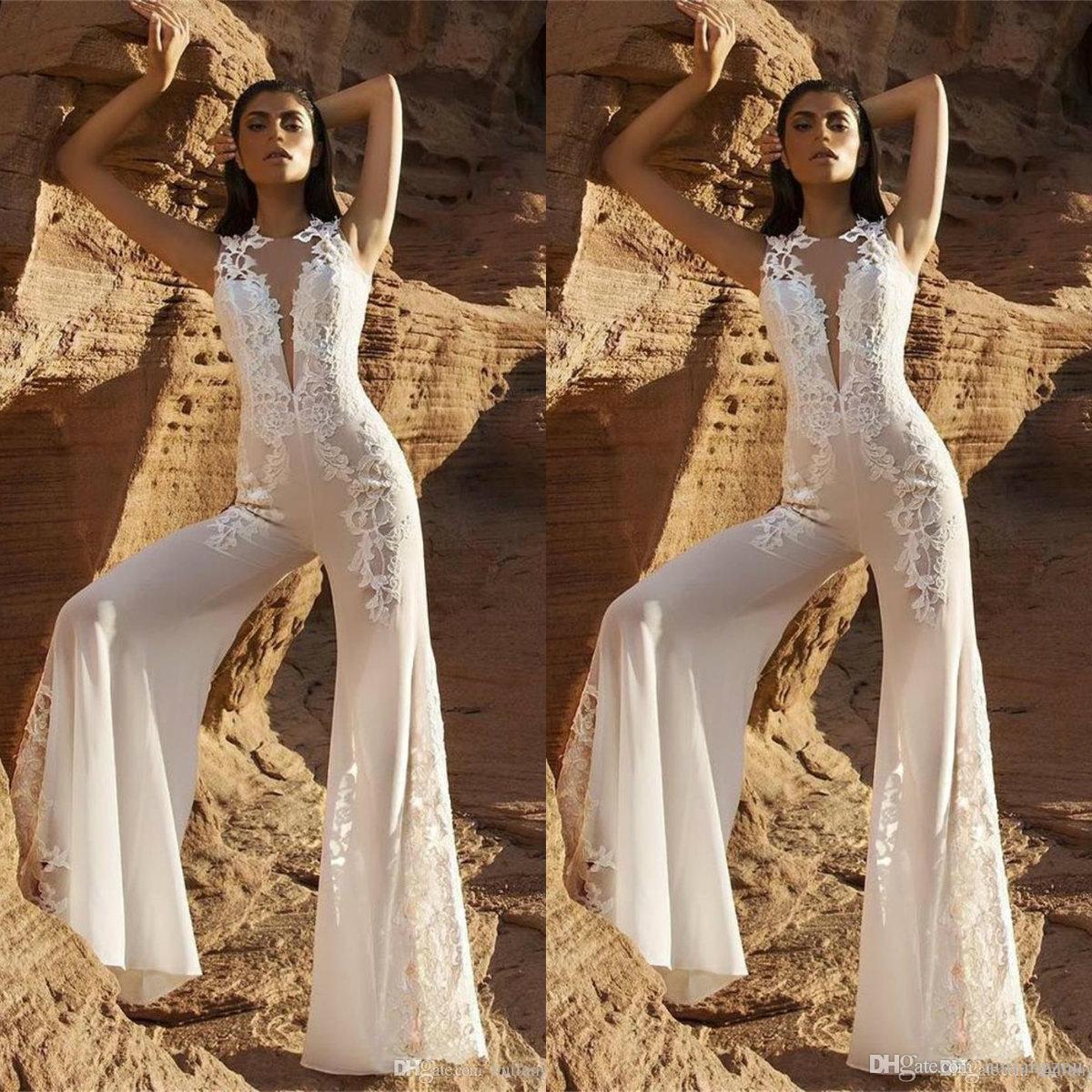 1ce83120f9 Discount Modest Beach Wedding Dresses Women Jumpsuits Sheer Neck Lace  Applique Chiffon Bridal Gowns Custom Made Wedding Dress Wedding Dresses  Vintage ...
