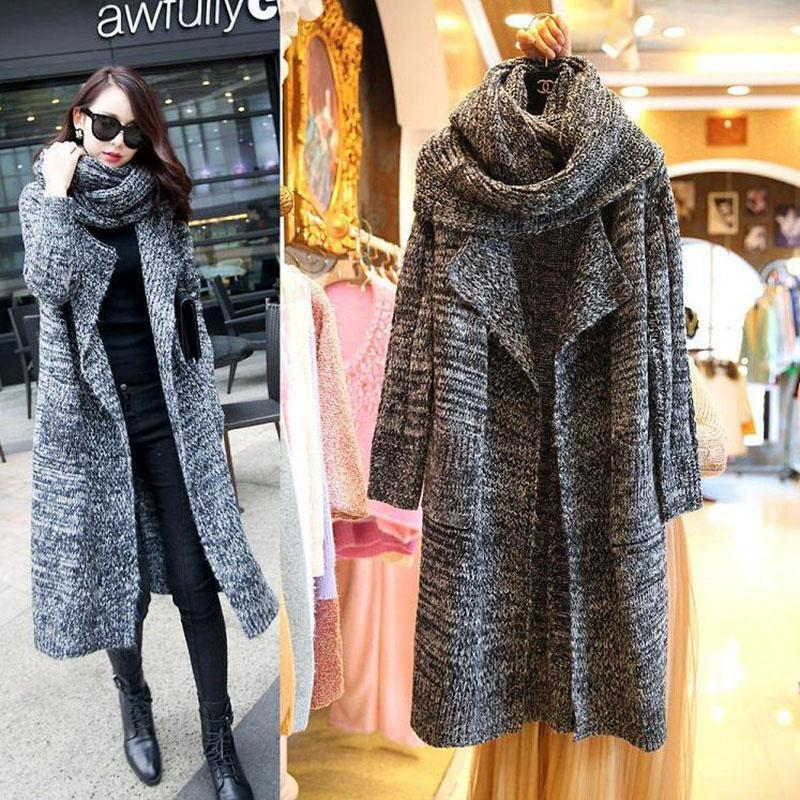 2019 New Long Knee Length Women Sweaters Fashion Loose Warm Women Knitted  Coats Fall Winter Thick Knitting Cardigans Long Sleeve Sweaters