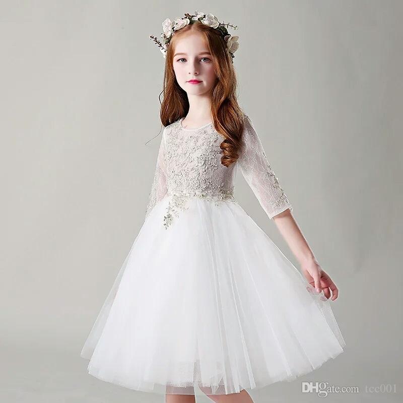 e43613111ce8 Flower Girls  DressesWhite Children S Dresses Princess Skirt Flower ...