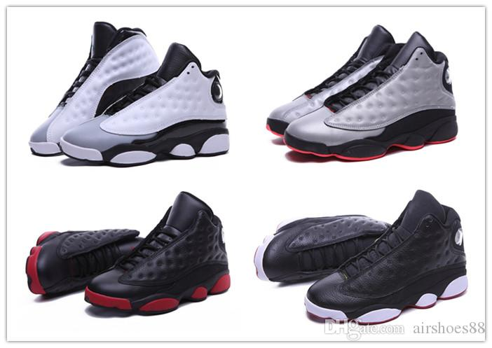 dd229f651171fd 2019 New High Quality Shoes 13 XIII 13s Men Basketball Shoes Women Bred  Black Brown White Hologram Flints Grey Sports Sneakers Kids Basketball Shoes  ...