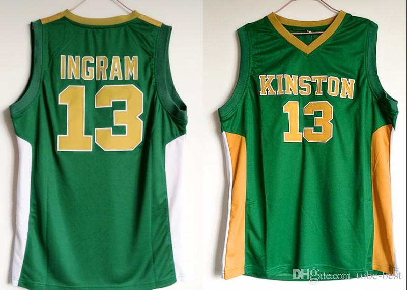 brand new 22cf6 35794 Kinston High School 13 Brandon Ingram Jersey Men Green For Sport Fans  Ingram Basketball Jerseys Breathable Uniform Wholesales