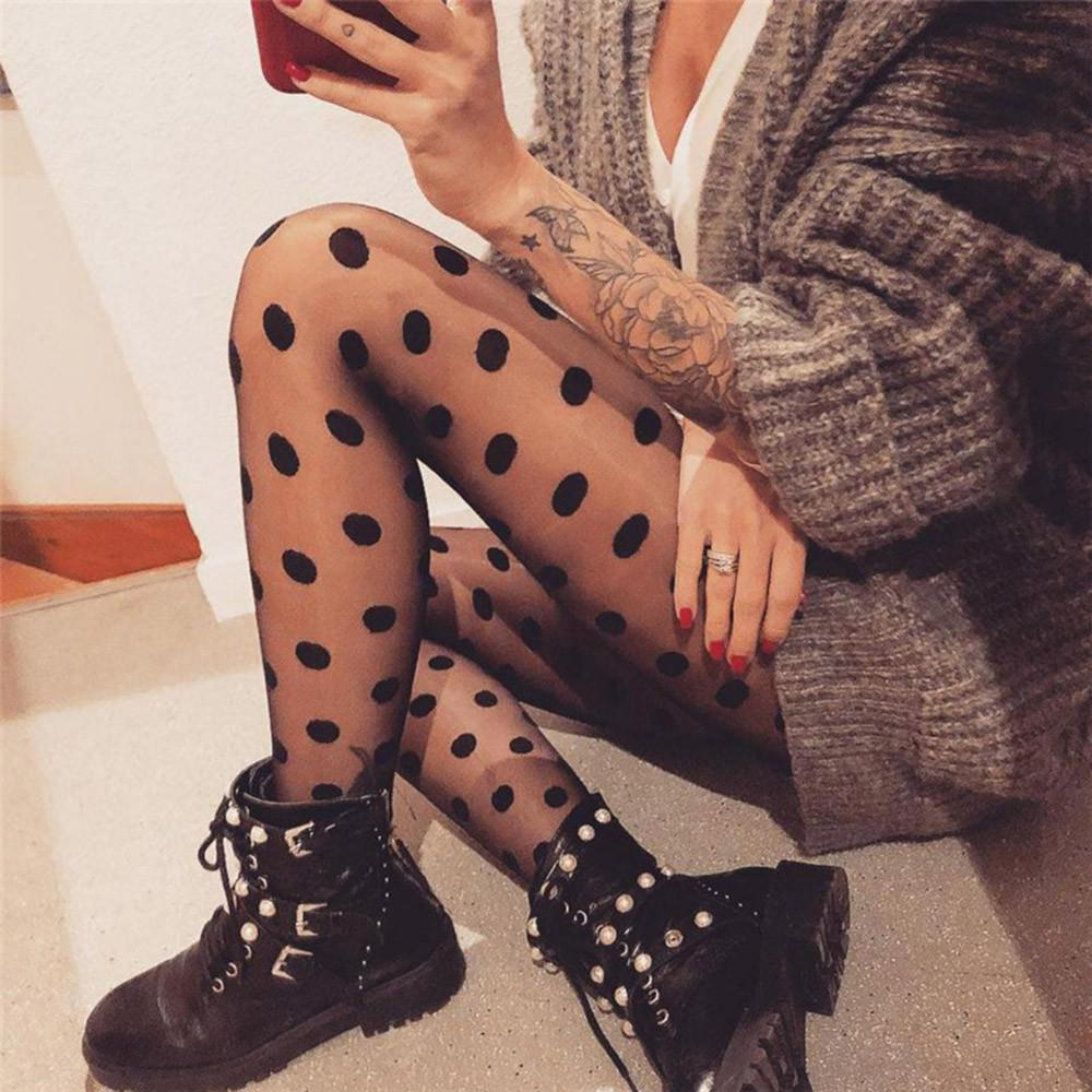 5b32a3a87bb3c 2019 Mesh Black Polka Dot Gauze Pantihose Leggings Women Sexy Perspective  Spring Legging Trousers Elastic Skinny Fitness Clothing From Sweatcloth, ...