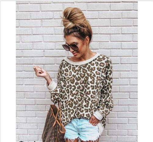 Fashion Womens Ladies Long Sleeve Loose Leopard Blouse Casual Shirt Summer Tops Pullover Women Clothing