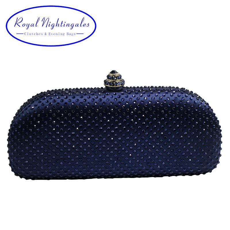 Elegante Navy Blue Crystal Box Clutch Bag And Purses Rhinestone Evening Bags Y19051702