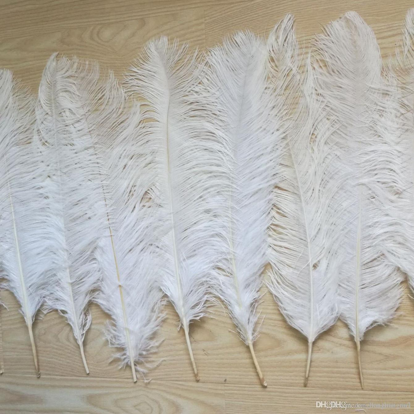 Large Pure White Ostrich Feathers Plume 15-45cm Long Wedding Party Costume Craft