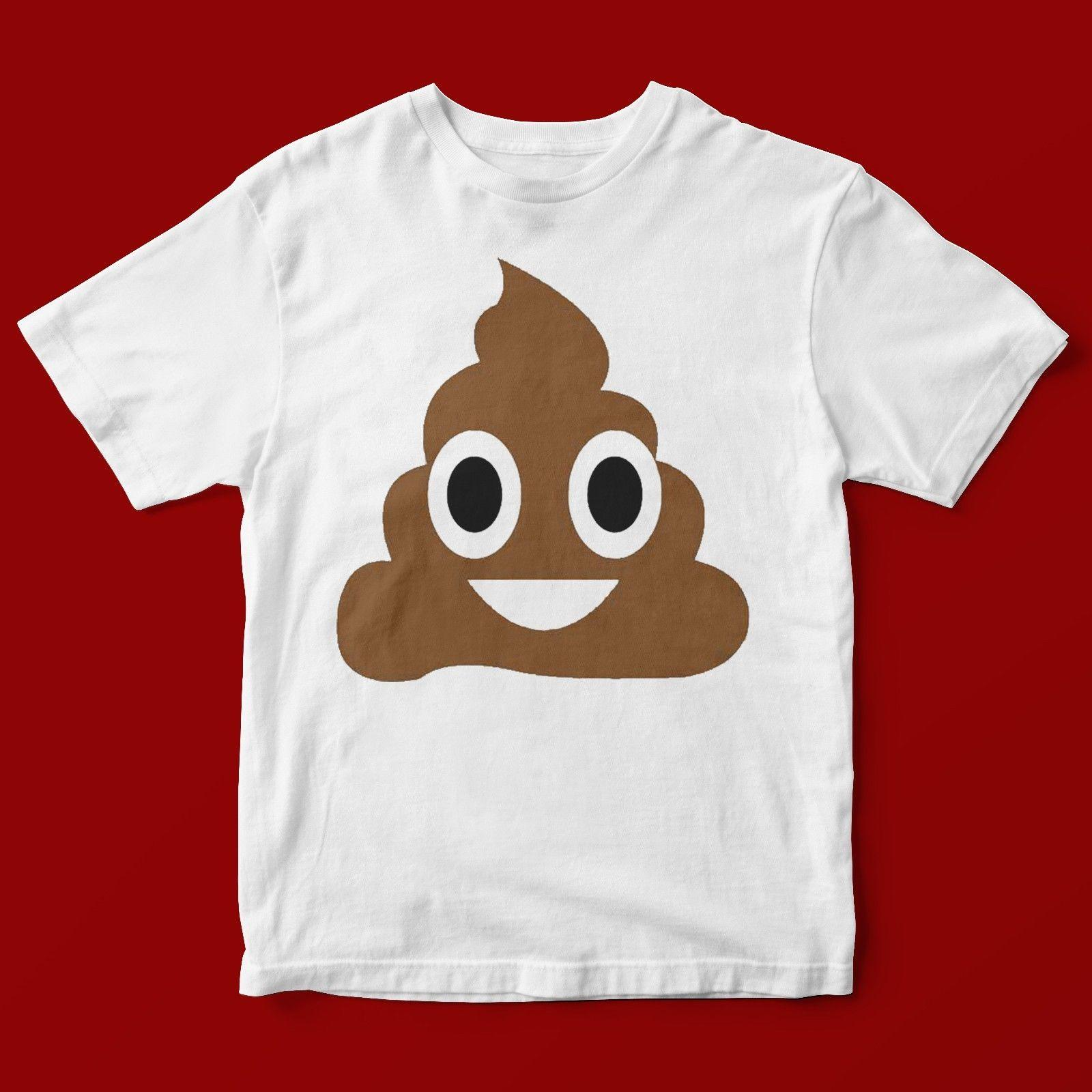 d142a5aa67 POOP EMOJI T-SHIRT UNISEX 619 Fashion Print Novelty Loose High Quality  O-Neck T-Shirt Free Shipping