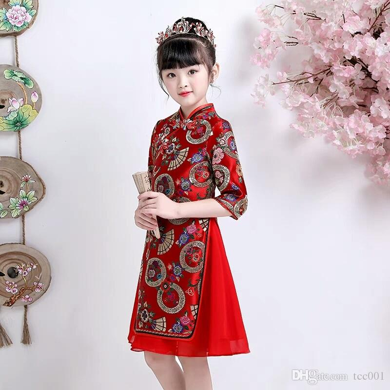 a1051f97f Girls' performance costumes Chinese style dress flower girls dresses new  style Sweet Princess Princess princess skirt Guzheng performance