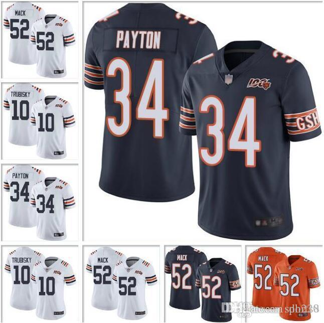 Chandail de maillot de football américain personnalisé Walter Payton Mitchell Trubisky Kyle Long Color pour le 100e Khalil Mack Chicago maillot de football américain alternatif