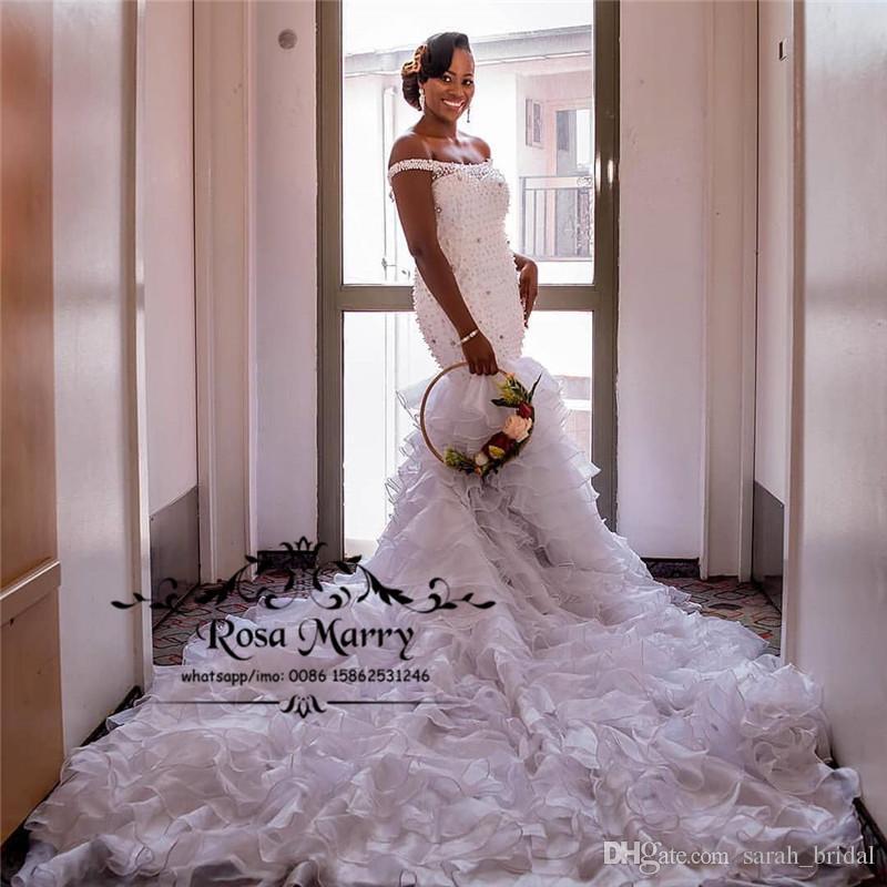 Luxury Crystals Mermaid African Wedding Dresses 2019 Off Shoulder ... 06aa604e1697