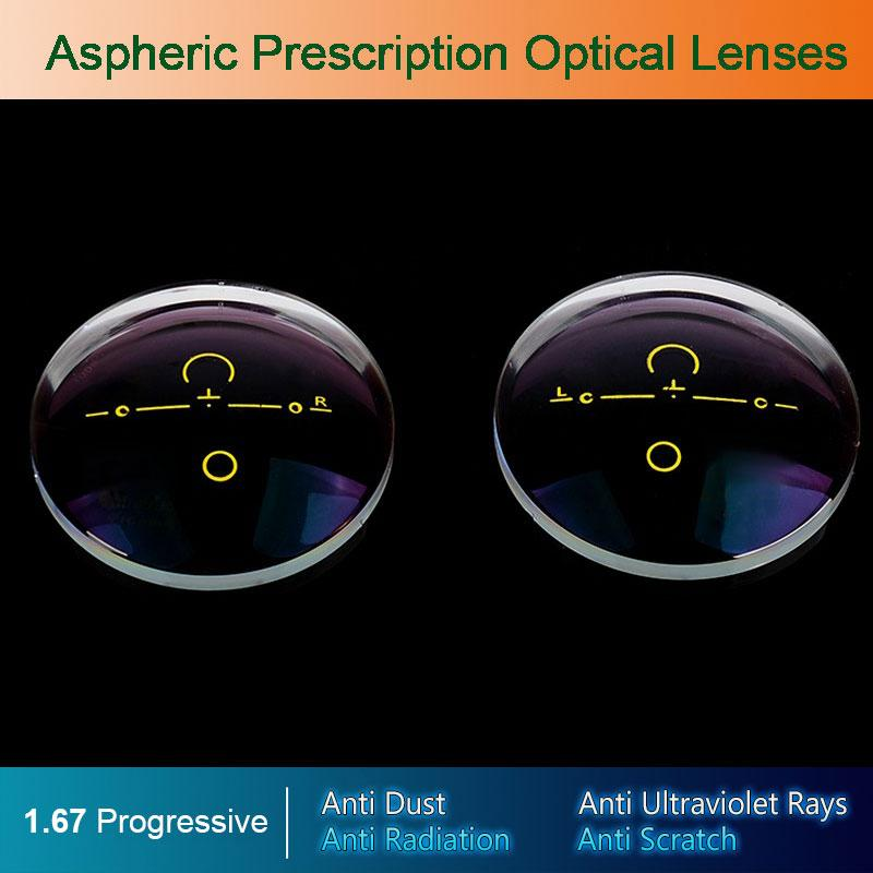 1.67 Digital Free-form Progressive Aspheric Optical Eyeglasses Prescription Eyewear Optical