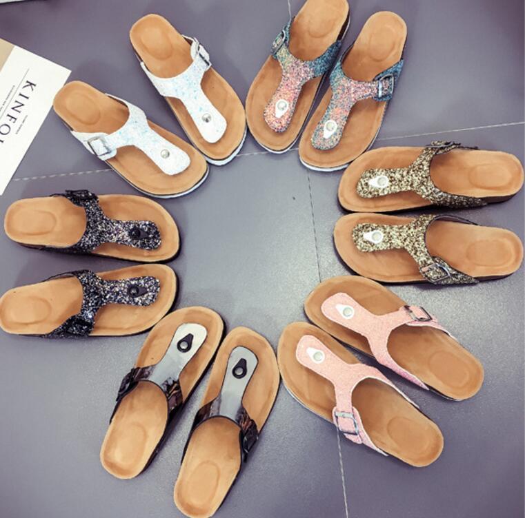 1b9b8bdc80 Soft Cork Women Slippers Summer Beach Sandals Floral Flowers Slides Flip  Flops Silver Casual Women Shoes Platform Sandals