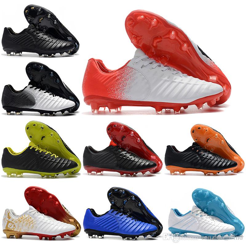 new arrival 2112f 49af1 Free Shipping New Mens Low Ankle Football Boots Tiempo Legend VII FG Soccer  Shoes Tiempo Totti X Roma Legend VII Outdoor Soccer Cleats