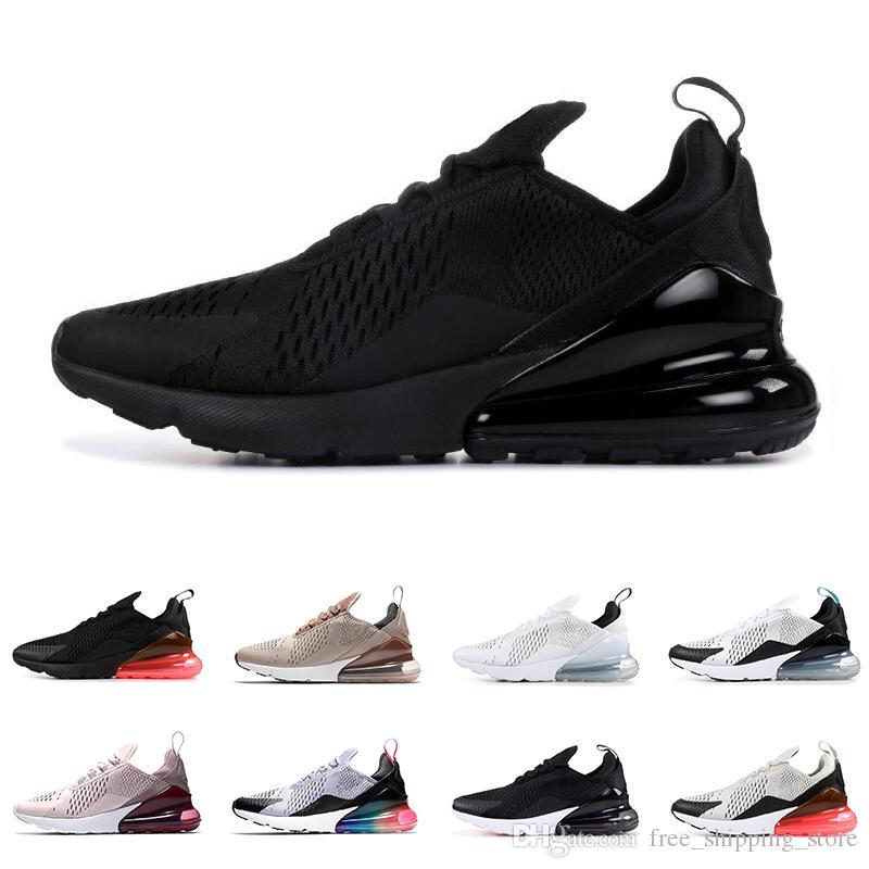 newest 864da 62055 Acheter Nike Air Max 270 Top Qualité Hommes Femmes Chaussures De Course  Triple Noir Blanc Tiger LIGHT BONE HABANERO ROUGE Brun Hommes Formateurs  Mode Sport ...