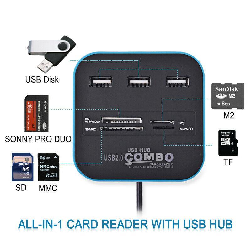 Çoklu USB Hub 2.0 Splitter Yüksek Hızlı 3 Limanlar TF SD Kart Pc Mac Veri Transferi