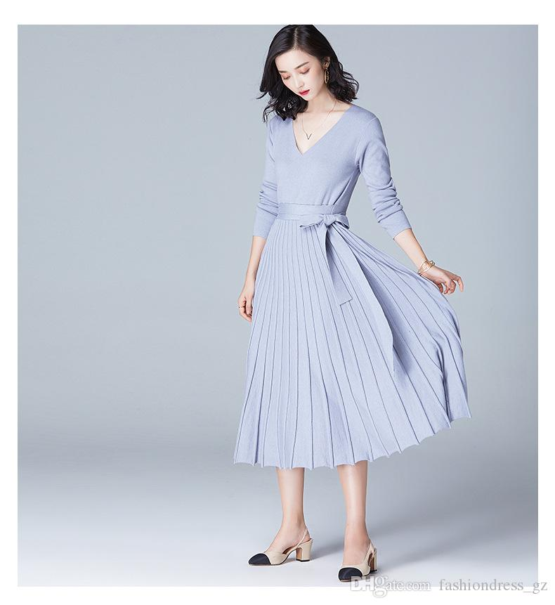 03fd6e5c659 Knitted Dresses Long Sleeve V Neck Pleated Plus Size Lace Up Midi Sweater  Dresses Wedding Party Dresses Silver Dresses From Fashiondress gz