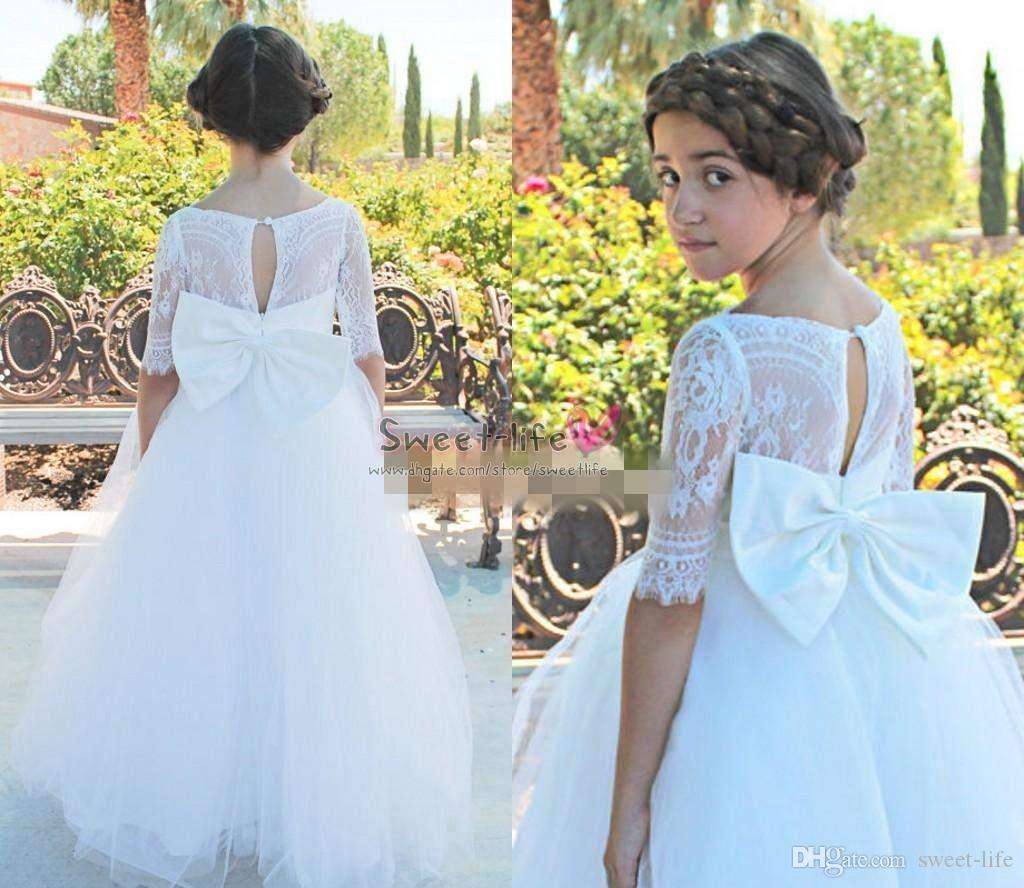 2019 White Ball Gown Flower Girl Dress For Wedding With Bow Tulle Floor Length Girls Pageant Gowns Lace Short Sleeves Kids Party Dresses