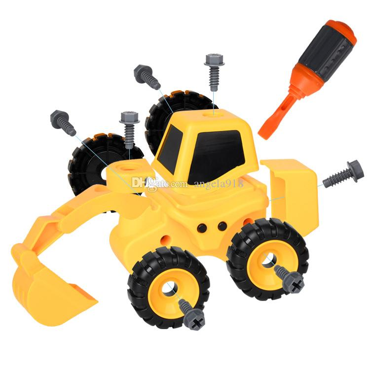 Children's puzzle disassembly engineering car Baby detachable assembly Wear and fall resistance DIY tool toy 3--8 year old boy gift V111