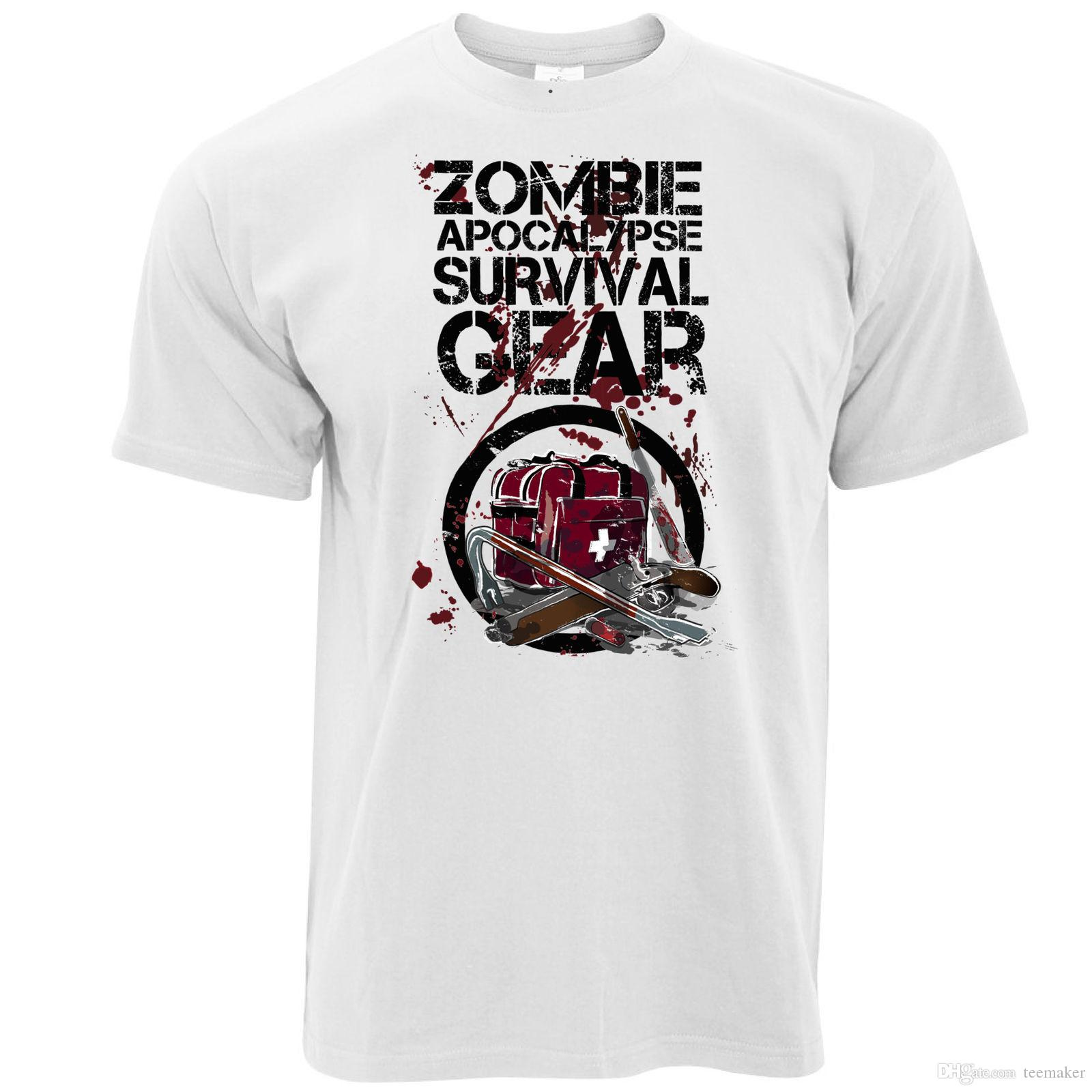 c89065219 Halloween T Shirt Zombie Apocolypse Survival Gear Dawn Of The Walking Dead T -Shirt Men Man's Swag Short Sleeve Funny Anime Harajuku Custom P