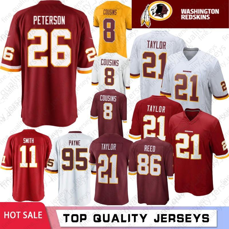 cc170ecc8b0 2019 26 Adrian Peterson Washington Jerseys Redskins 21 Sean Taylor 11 Alex  Smith 72 Eric Fisher 86 Reed 8 Kirk Cousins 29 Guice 95 Payne Stock From ...