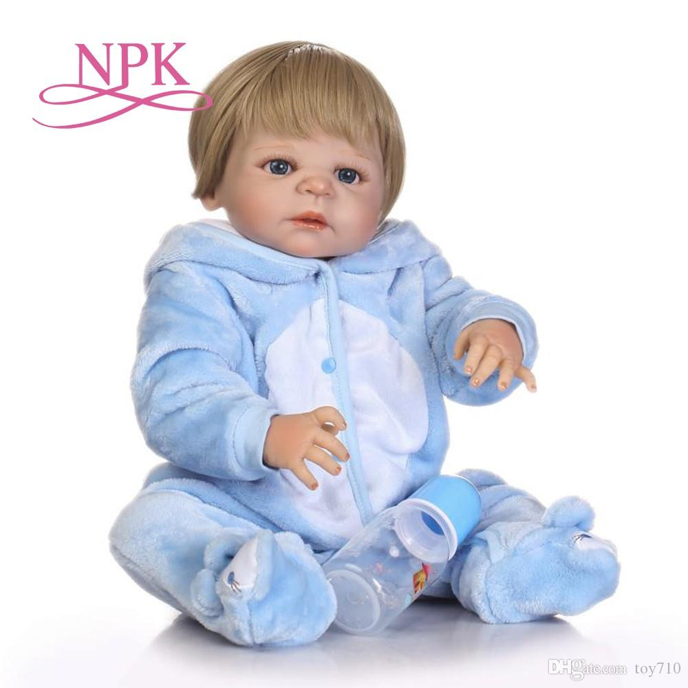 57cm full silicone sumilation newborn baby boy with black pasted hair and brown clothes silicone reborn baby doll 18 in dolls dollhouse dolls from toy710