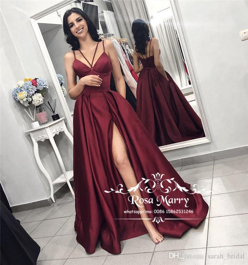 77b6ffef8297c Burgundy Backless Cheap Prom Dresses 2019 A Line V Neck High Split Arabic  African 2K19 Couple Fashion Formal Evening Party Gowns Proms Dresses Retro  Prom ...