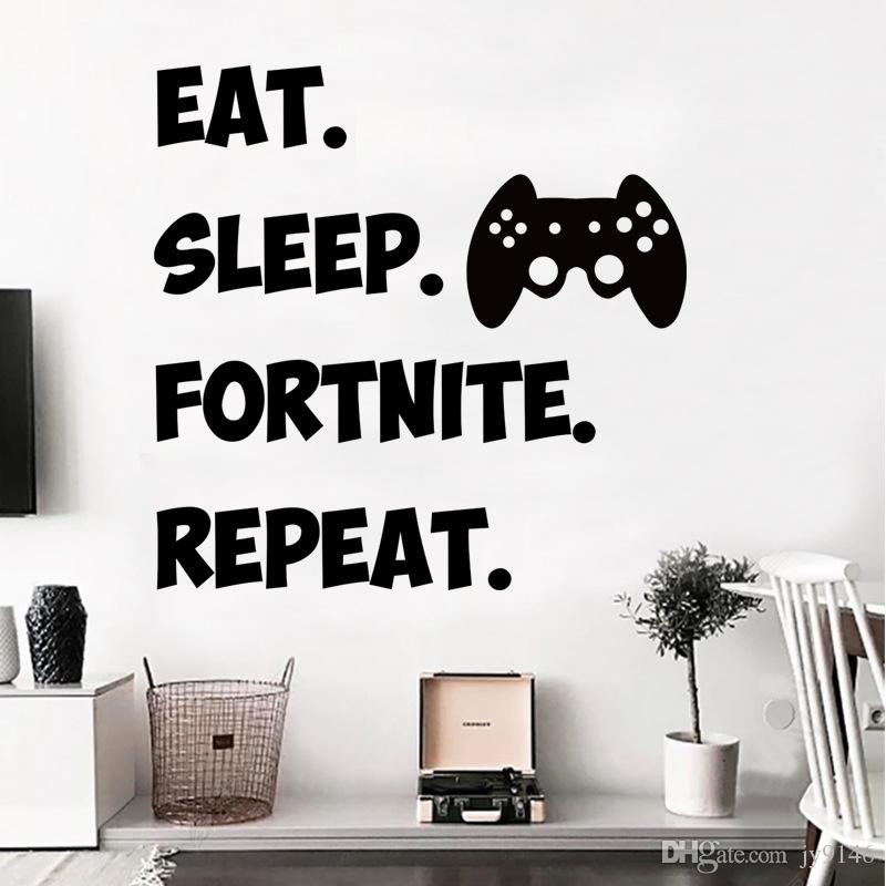 eat sleep fortnite repeat creative wall decals vinyl self adhesive