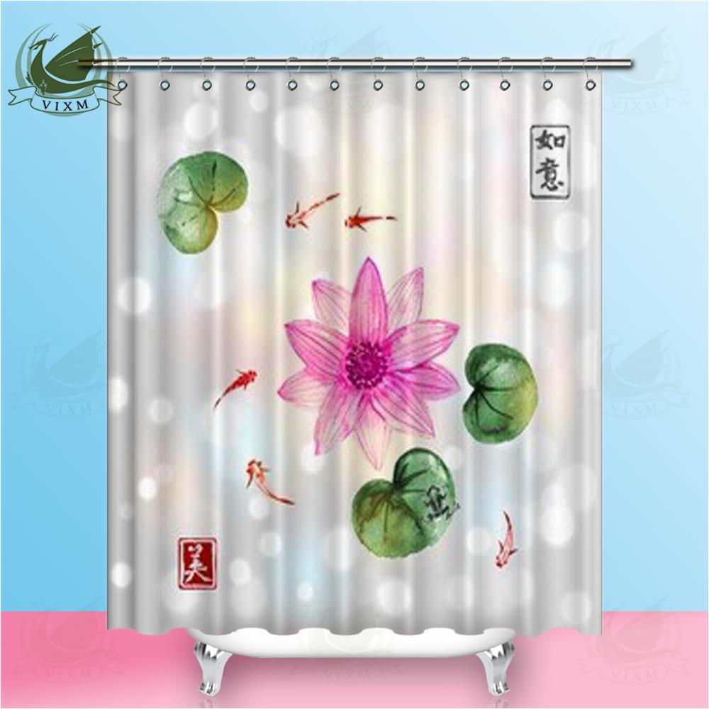 2019 Vixm Pond Traditional Japanese Ink Painting Of Lotus And Little Fish Shower Curtains Polyester Fabric For Home Decor From Bestory