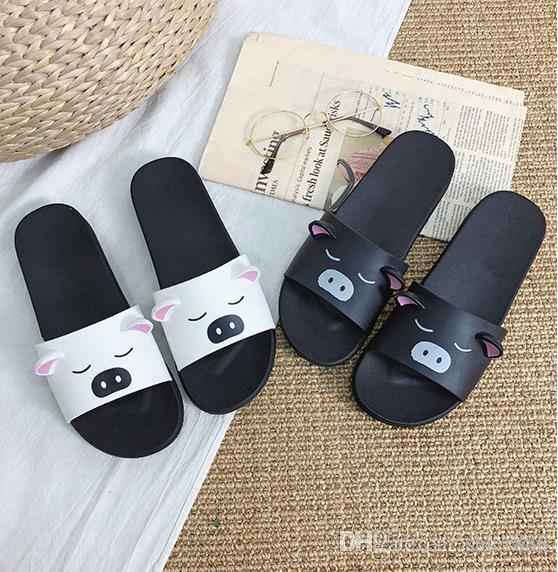 331650a0a8c8 Summer Female Cartoon Pig Slippers wear 2019 Korean women's shoes cartoon new  year pig shoes ins hot sandals one word half drag