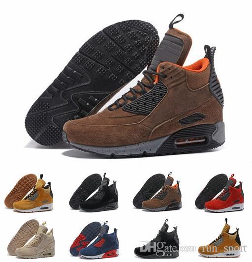 b5272012fd813 2019 New Designer 90 Mid Winter Sneakerboot High Quality Hot Sale 90s Mens  Suede Grey Black Red Men Running Shoes Size Eur 40 46 Running Shoes Women  Running ...