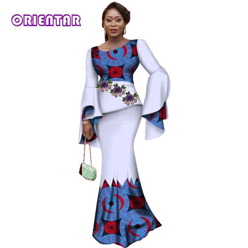 48a8fa6bf8af84 Mode Applique 2 Pièces Jupe Ensembles Bazin Riche Africain Imprimer Ruffles  Haut À Manches et Jupes pour Femmes Vêtements Africains WY3075